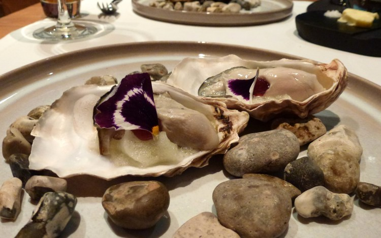 Poached rock oyster, Granny Smith apple foam at hedone