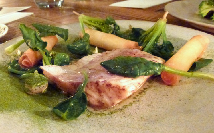 Seabass, spinach, roe at the clove club