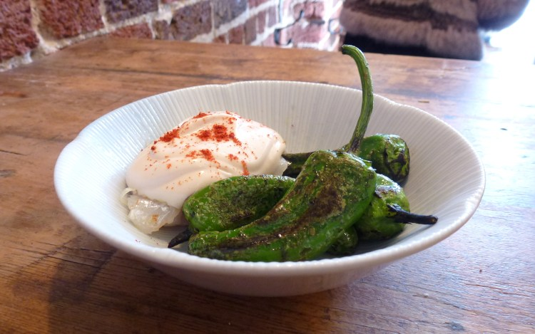Padron peppers, cods head, smoked cod roe at the dairy