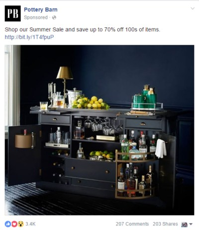Facebook Advertising Boosted Campaign - Pottery Barn
