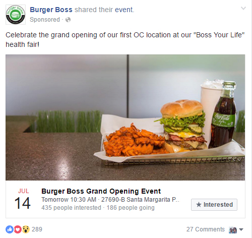 Facebook Advertising Event Attendance Burger Boss