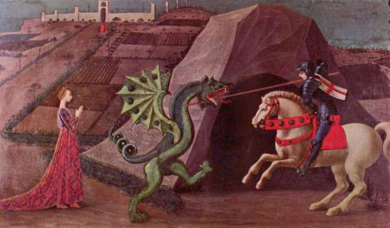 The Princess and the Dragon, Paolo Uccello, c. 1470, a classic image of a damsel in distress.