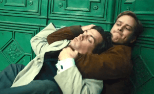 In the beginning -- Kuryakin choking Solo. Image from The Man from U.N.C.L.E.