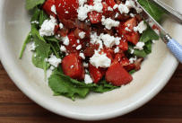 fresh tomato salad with goat cheese and warm bacon dressing recipe | writes4food.com
