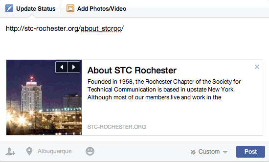 Facebook Preview Box: About STC Rochester
