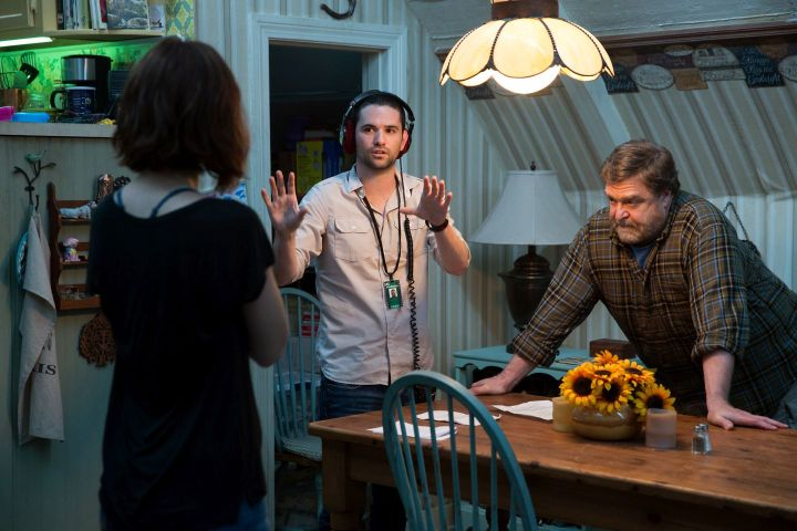 (L-R) Mary Elizabeth Winstead, Dan Trachtenberg (director) and John Goodman on the set of 10 CLOVERFIELD LANE, by Paramount Pictures