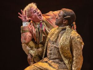 8. Adam Gillen - Wolfgang Amadeus Mozart, Lucian Msamati - Antonio Salieri, photograph by Marc Brenner