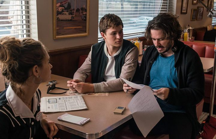 BTS/ Director EDGAR WRIGHT with Lily James and Ansel Elgort (center) on the set of TriStar Pictures' BABY DRIVER.