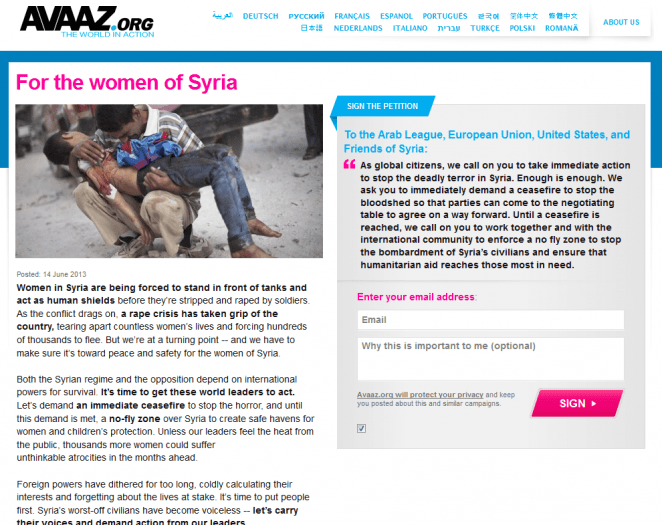 Avaaz NoFlyZone Syria