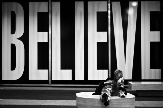 Believe, Midtown, NYC, 2009 - Photo by Vitaliy Piltser (flickr.com/cityraven)
