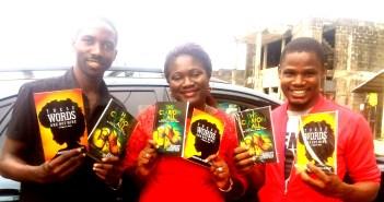 Albert Seraphin, author of 'THE CLARION CALL',  Ebidenyefa Tarila Nikade, author of 'THESE WORDS ARE NOT MINE' and Kukogho Iruesiri Samson, CEO/Publisher WORDS RHYMES & RHYTHM (LTD).