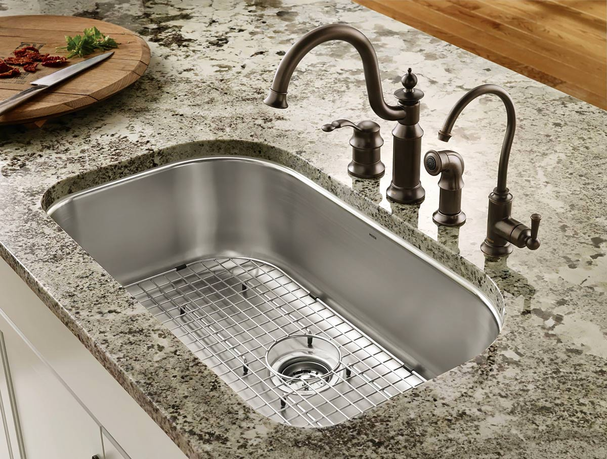 plumbing fixtures for the kitchen kitchen sink plumbing Moen undermount single bowl sink with Waterhill faucet with side spray and Sip traditional filtered water dispenser
