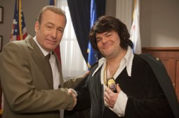 "Bob Odenkirk (left) as Nixon and Jack Black as Elvis in the first episode of ""Drunk History."" The Comedy Central show will film at Mothers Grille 8 p.m. Thursday."