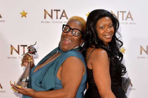 Sandy Channer and Sandra Martin pose at the National Television Awards at the 02 Arena in 2015