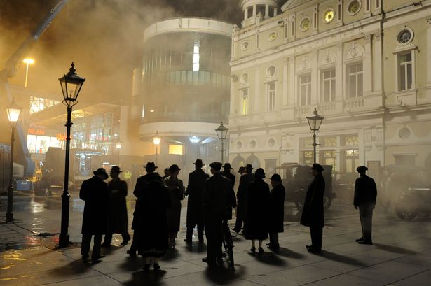New Agatha Christie drama,Witness for the Prosecution,filming on Williamson Square,infront of Liverpool Playhouse.