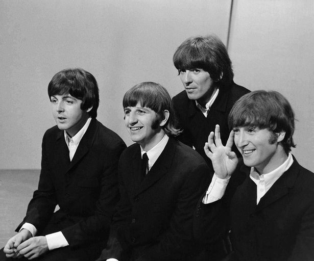 The Beatles on the set of Top of the Pops on June 16, 1966