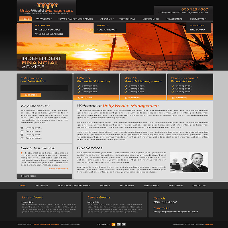 Finance Website Design  Web Development from  169 by Expert Web     This website is designed by Logoinn for  Unity wealth Management  in June   2011