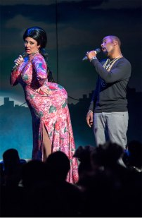Kim Kardashian and Kanye West characters in 2014 Beach Blanket Babylon; photo by Rick Markovich
