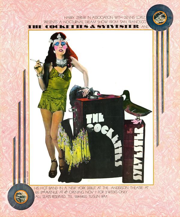 A poster for Cockettes/Sylvester show