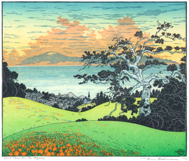 """Santa Cruz from the Pogonip,"" more or less the view from Cowell College, UCSC, a multi-block woodcut print from 2002 by Tom Killion."