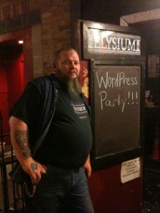 A bouncer for a wordpress party at SXSW in Austin, Texas.