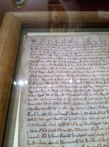One of four original versions of the Magna Carta at the Legion of Honor.