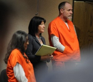 Attorney Susan Gellman stands with clients Phillip and Nancy Garrido who pleaded guilty, Thursday morning, April 28, 2011, with kidnapping Jaycee Dugard in Placerville, California.