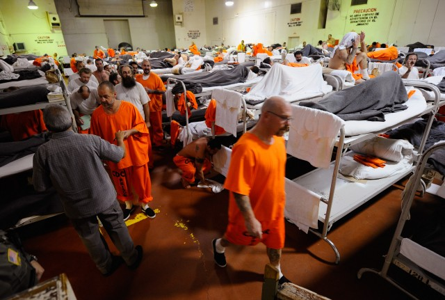 A gymnasium that was modified to house prisoners on December 10, 2010, at Chino State Prison — one of many California correctional institutions with a history of severe overcrowding. (Kevork Djansezian/Getty Images)