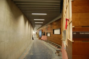 Walls of Champions clad in cherry wood run throughout the Center. Tracey Taylor/Berkleyside