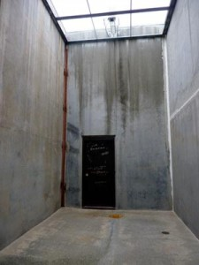 A bare room used for exercise by the Security Housing Unit at Pelican Bay State Prison.