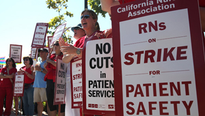 California nurses have returned repeatedly to picket lines in front of Sutter Hospitals since September, 2011 (Justin Sullivan/Getty)