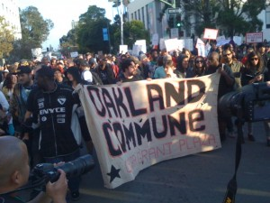 Occupy Oakland protesters march to Frank Ogawa Plaza.