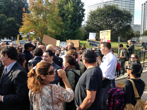 Occupy Oakland protesters at a press conference near Lake Merritt