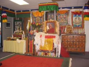An altar pays homage to the Dalai Lama.