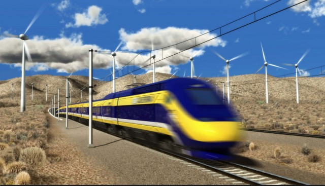 Artist's conception of California bullet train. (California High-Speed Rail Authority)