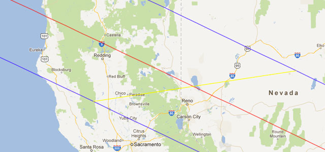 map of the annular eclipse path