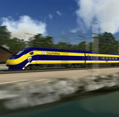 An artist's rendition of the bullet train planned to connect San Francisco to Los Angeles. (California High Speed Rail Authority)