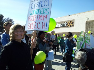 About one hundred people gathered outside Walmart's Richmond store today to protest Walmart wages and benefits. (Aarti Shahani: KQED)