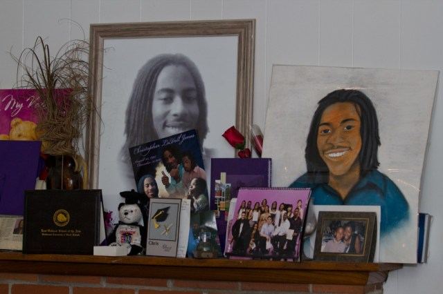 In Brenda Grishams home, photos and momentos of her son Christopher Jones, fill the mantel.  Jones was murdered on the front porch of their home on December 31, 2010.  Photo by Deborah Svoboda / KQED