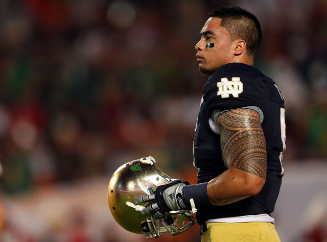 Manti Te'o before the national championship game. Photo by Mike Ehrmann/Getty Images.