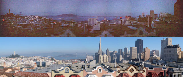 """The view from the roof of 1302 Taylor St., which features in the opening sequence of """"Vertigo."""" At top, how it appears in the movie; bottom, the view today. (Courtesy Reel SF)"""