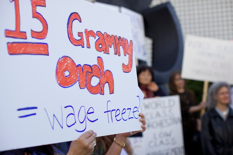 The San Francisco Symphony went on strike Wednesday morning. (Deborah Svoboda/KQED)
