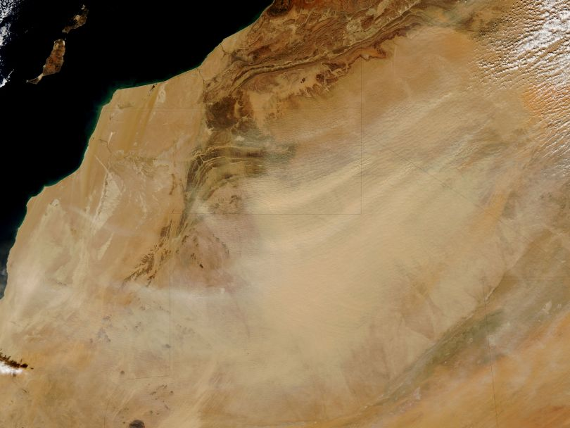 Photo from NASA's Earth Observatory of a dust storm in the Sahara Desert in northwest Africa.