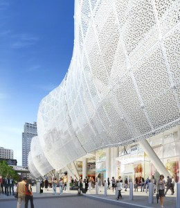 An artist's conception of the possible perforated metal shell for the Transbay Terminal. (Transbay Joint Powers Authority)