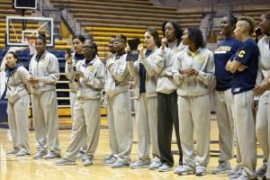 Cal Berkeley women's basketball team received a send-off, as they get ready to leave for their first ever appearance in the Final Four. Coach Lindsay Gottlieb spoke to fans before the team entered to a standing ovation. (Deborah Svoboda/KQED)