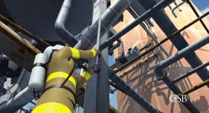 Scene from U.S. Chemical Safety Board Animation of August 2012 Chevron refinery fire: Here, a firefighter uses a steel pike to try to dislodge insulation from a leaking pipe in the crude-processing unit that was soon to catch fire. See full animation below.