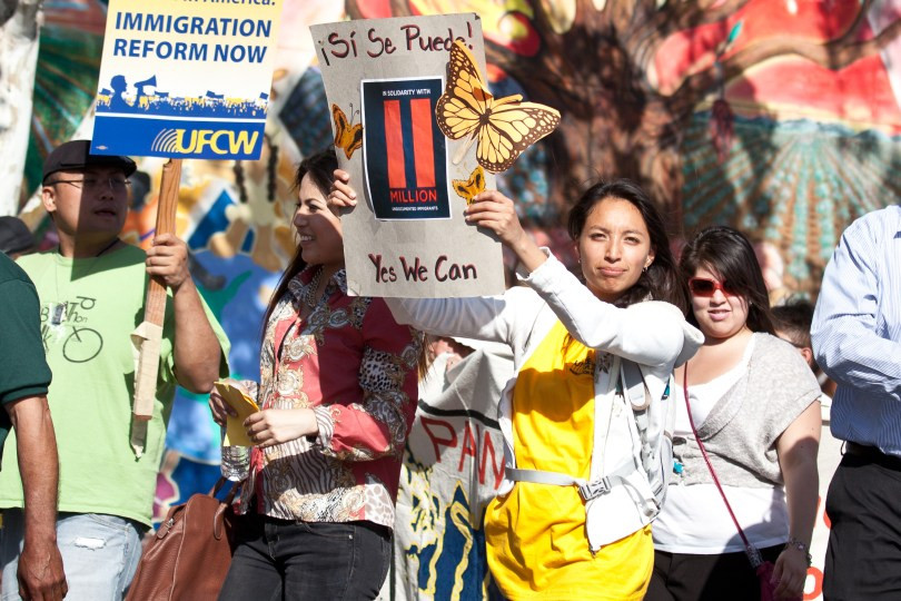 In San Jose, more than 1,000 people marched on City Hall. (Deborah Svoboda/KQED)