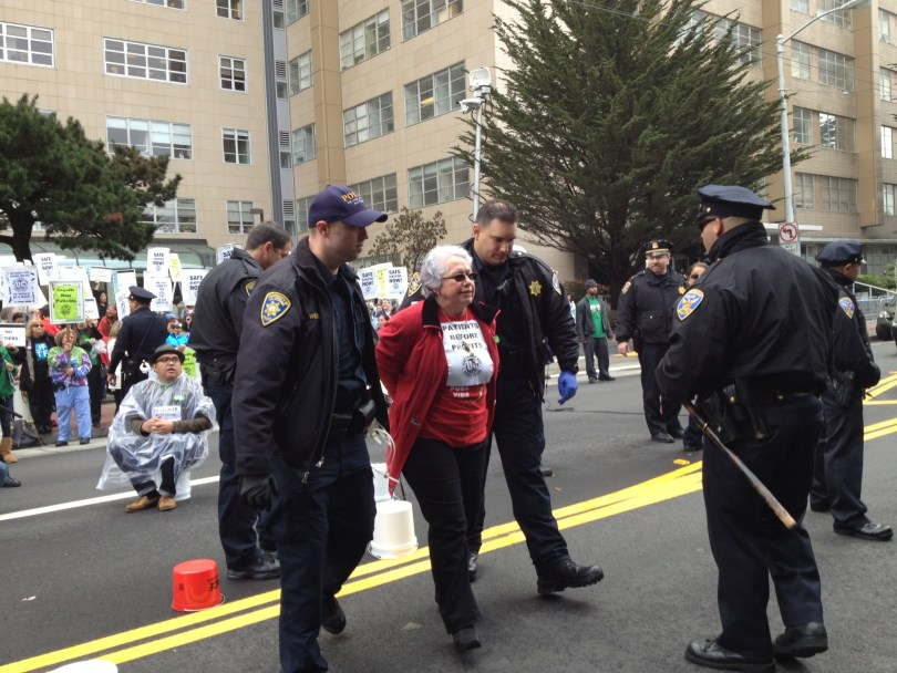 Teresa Cortes was arrested at an April protest at UC San Francisco. (Molly Samuel/KQED)