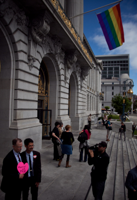 Thousands of people celebrated the Prop. 8 and DOMA rulings at San Francisco City Hall. (Deborah Svoboda/KQED)