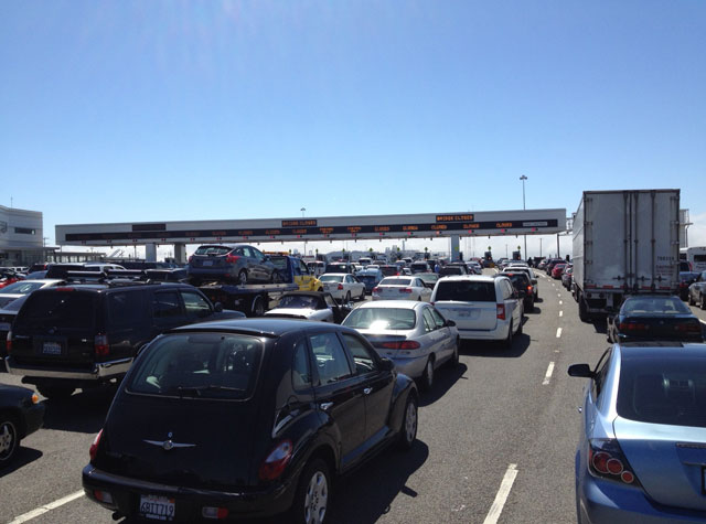 Traffic ground to a halt near the Bay Bridge toll plaza this afternoon. (Gabriel Coan/KQED)